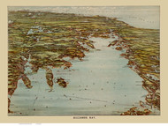 Buzzards Bay, Massachusetts ca 1907 Bird's Eye View - Old Map Reprint BPL