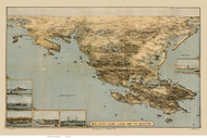 Cape Ann to Boston, Massachusetts 1879 Bird's Eye View - Old Map Reprint BPL