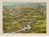 Charles River, Massachusetts ca 1900 Bird's Eye View - Old Map Reprint BPL
