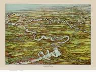 Charles River, Massachusetts ca 1900 Bird's Eye View - Old Map Reprint BPL