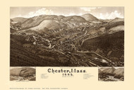 Chester, Massachusetts 1885 Bird's Eye View - Old Map Reprint