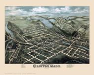 Clinton, Massachusetts 1876 Bird's Eye View - Old Map Reprint