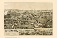 Cochituate, Massachusetts 1887 Bird's Eye View - Old Map Reprint