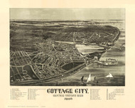 Cottage City, Massachusetts 1890 Bird's Eye View - Old Map Reprint