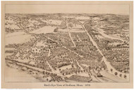 Dedham, Massachusetts 1876 Bird's Eye View - Old Map Reprint BPL
