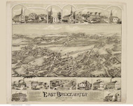 East Bridgewater, Massachusetts 1887 Bird's Eye View - Old Map Reprint BPL