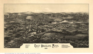 East Douglas, Massachusetts 1886 Bird's Eye View - Old Map Reprint