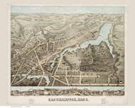 Easthampton, Massachusetts 1878 Bird's Eye View - Old Map Reprint BPL