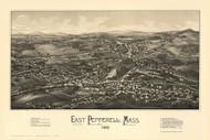 East Pepperell, Massachusetts 1886 Bird's Eye View - Old Map Reprint