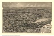East Walpole, Massachusetts 1898 Bird's Eye View - Old Map Reprint