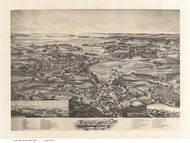 Essex, Massachusetts 1894 Bird's Eye View - Old Map Reprint BPL