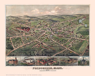 Foxborough, Massachusetts 1879 Bird's Eye View - Old Map Reprint