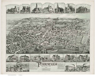 Foxborough, Massachusetts 1888 Bird's Eye View - Old Map Reprint BPL