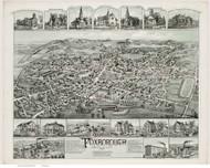 Foxborough, Massachusetts 1888 Bird's Eye View - Old Map Reprint BPL