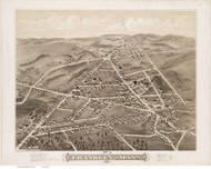 Franklin, Massachusetts 1879 Bird's Eye View - Old Map Reprint BPL