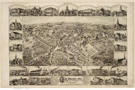 Franklin, Massachusetts 1888 Bird's Eye View - Old Map Reprint BPL