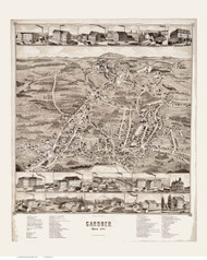 Gardner, Massachusetts 1880 Bird's Eye View - Old Map Reprint BPL