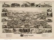 Grafton, Massachusetts 1887 Bird's Eye View - Old Map Reprint BPL