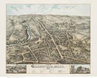 Greenfield, Massachusetts 1877 Bird's Eye View - Old Map Reprint BPL