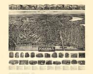 Haverhill, Massachusetts 1914 Bird's Eye View - Old Map Reprint