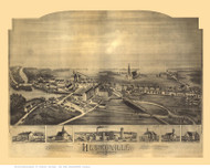 Hebronville, Massachusetts 1891 Bird's Eye View - Old Map Reprint