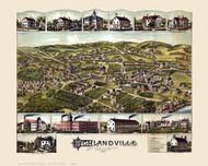 Highlandville , Massachusetts 1887 Bird's Eye View - Old Map Reprint