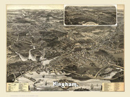 Hingham, Massachusetts 1885 Bird's Eye View - Old Map Reprint