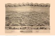 Holbrook, Massachusetts 1892 Bird's Eye View - Old Map Reprint
