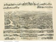 Holden, Massachusetts 1892 Bird's Eye View - Old Map Reprint BPL