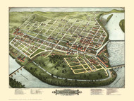 Holyoke, Massachusetts 1877 Bird's Eye View - Old Map Reprint