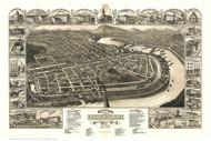 Holyoke, Massachusetts 1881 Bird's Eye View - Old Map Reprint
