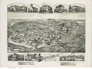 Hopedale, Massachusetts 1888 Bird's Eye View - Old Map Reprint BPL