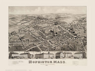 Hopkinton, Massachusetts 1880 Bird's Eye View - Old Map Reprint BPL