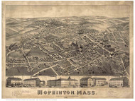 Hopkinton, Massachusetts 1880 Bird's Eye View - Old Map Reprint