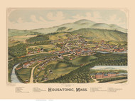 Housatonic, Massachusetts 1890 Bird's Eye View - Old Map Reprint BPL