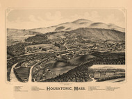Housatonic, Massachusetts 1890 Bird's Eye View - Old Map Reprint