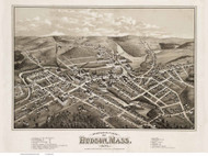 Hudson, Massachusetts 1878 Bird's Eye View - Old Map Reprint BPL