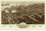 Hyannis, Massachusetts 1884 Bird's Eye View - Old Map Reprint