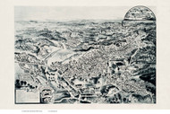Kingston, Massachusetts 1885 Bird's Eye View - Old Map Reprint BPL