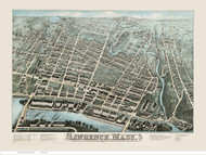 Lawrence, Massachusetts 1876 Bird's Eye View - Old Map Reprint BPL
