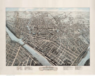 Lowell, Massachusetts 1876 Bird's Eye View - Old Map Reprint BPL