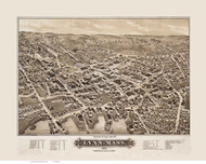 Lynn, Massachusetts 1879 Bird's Eye View - Old Map Reprint BPL