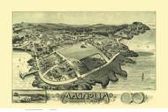Magnolia, Massachusetts 1887 Bird's Eye View - Old Map Reprint BPL