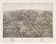Malden, Massachusetts 1881 Bird's Eye View - Old Map Reprint BPL