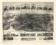 Manchaug, Massachusetts 1891 Bird's Eye View - Old Map Reprint