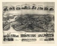 Manchaug, Massachusetts 1891 Bird's Eye View - Old Map Reprint