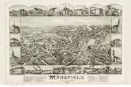Mansfield, Massachusetts 1888 Bird's Eye View - Old Map Reprint BPL
