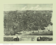 Marblehead, Massachusetts 1882 Bird's Eye View - Old Map Reprint BPL