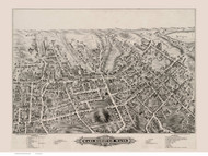 Marlborough, Massachusetts 1879 Bird's Eye View - Old Map Reprint BPL