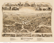 Mattapan, Massachusetts 1890 Bird's Eye View - Old Map Reprint BPL